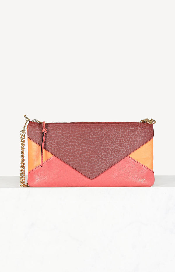 Chain zipper evening bag in orange
