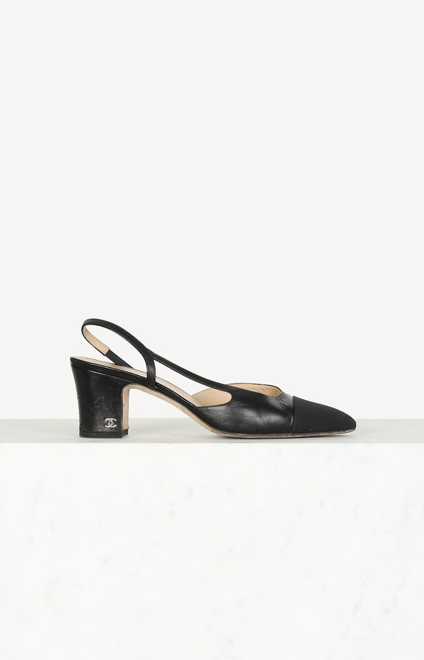 Sling pumps with fabric cap in black