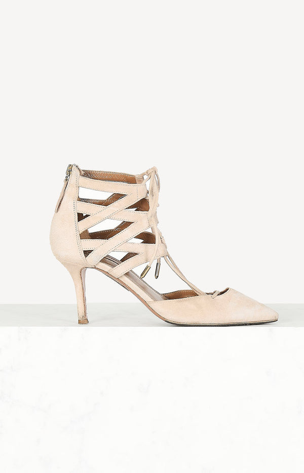 Suede heeled sandals in nude