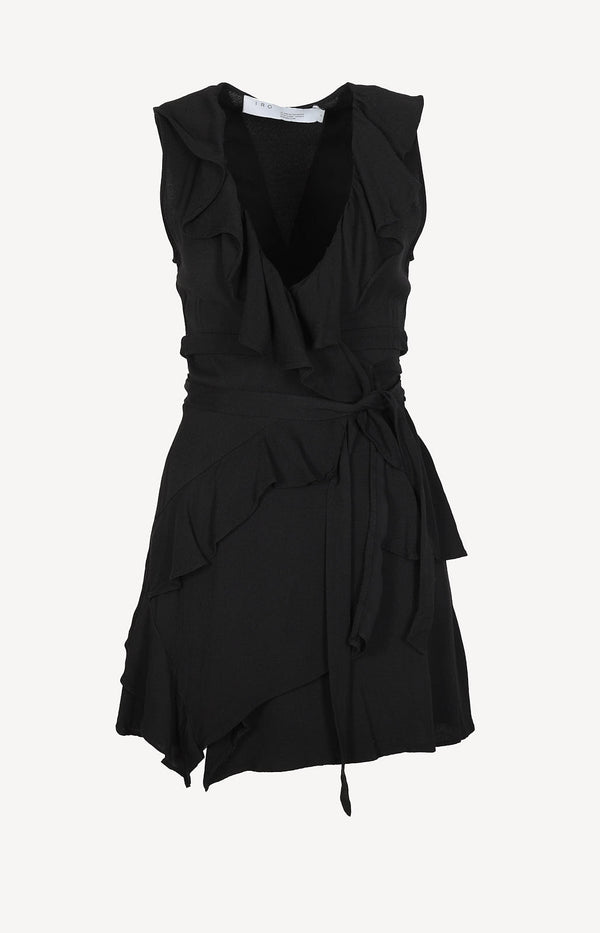 Wrap dress with ruffles in black