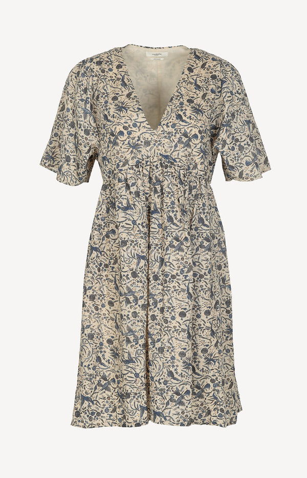 Linen dress with beige print