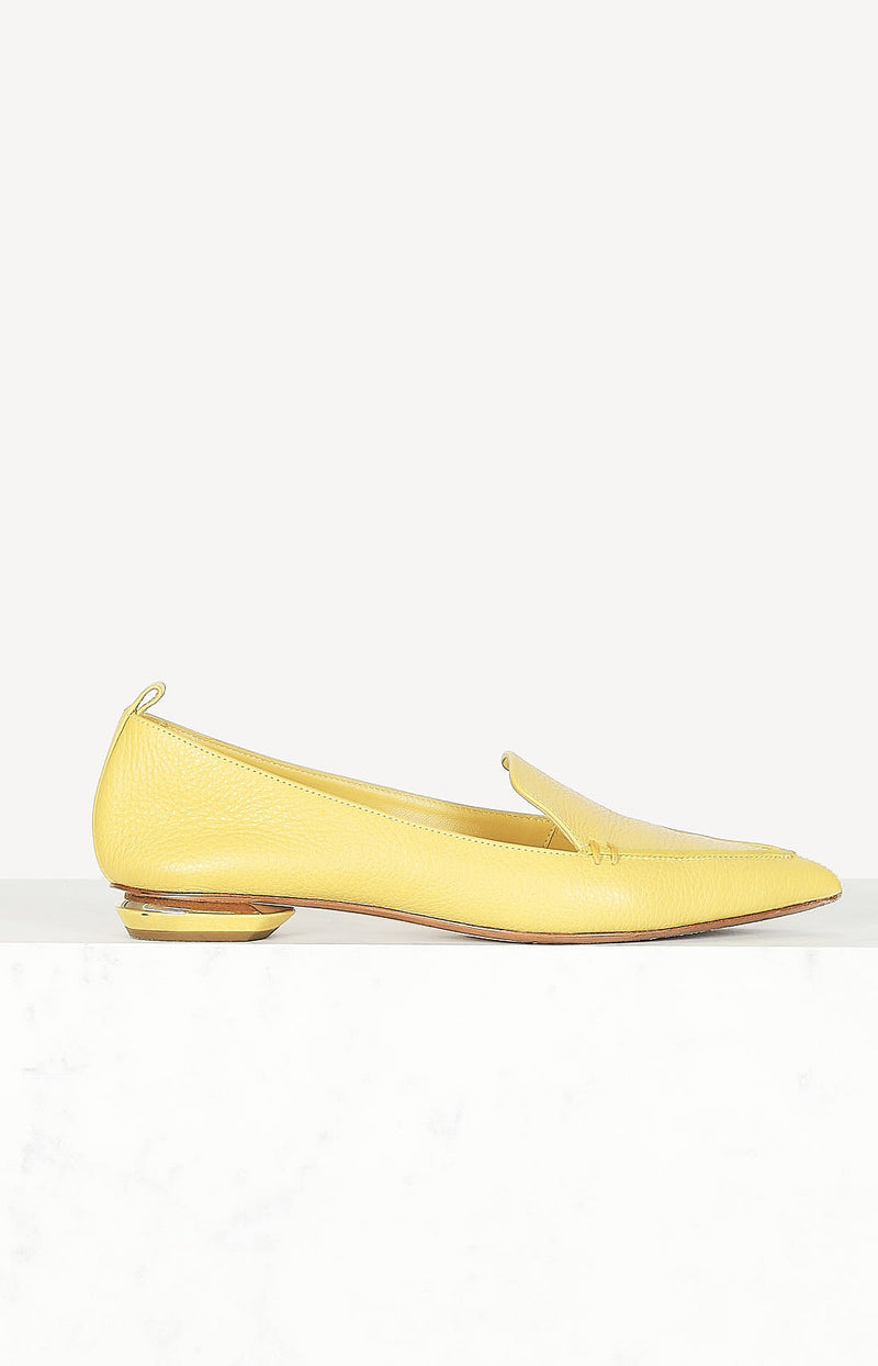 Ballerinas made of leather in yellow