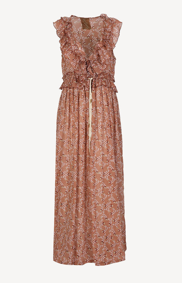 Printed maxi dress in peach