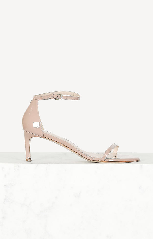 Patent sandals in dusty pink