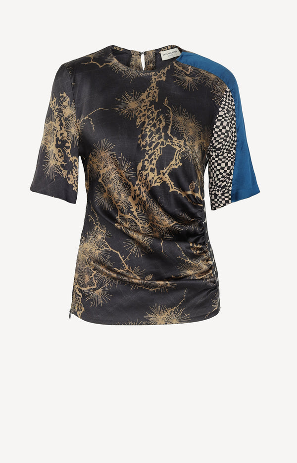 Ruched silk shirt with print