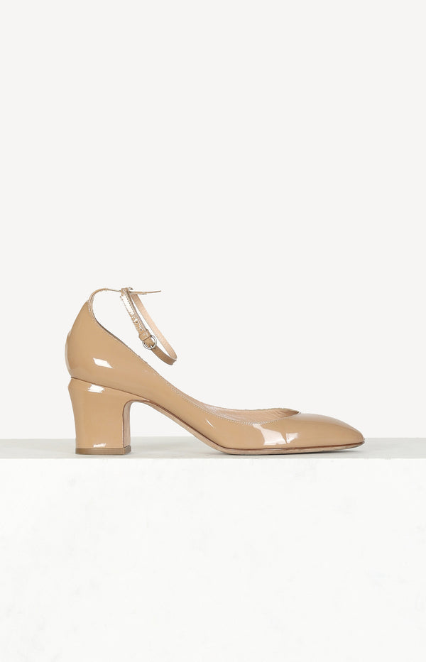 Pumps Mary Janes in Nude-Lackleder