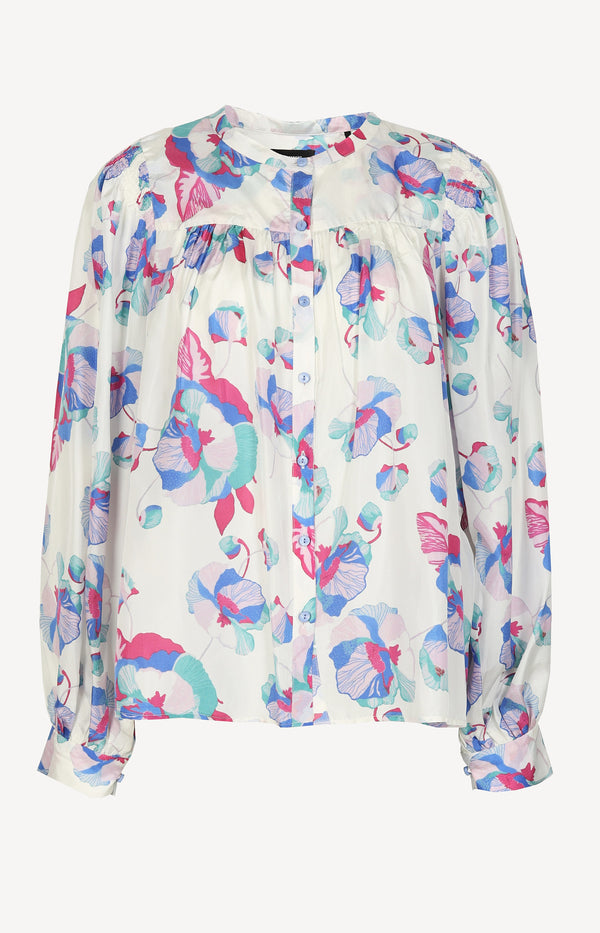 Cream silk blouse with multi-print