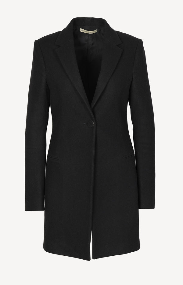 Straight wool coat in black