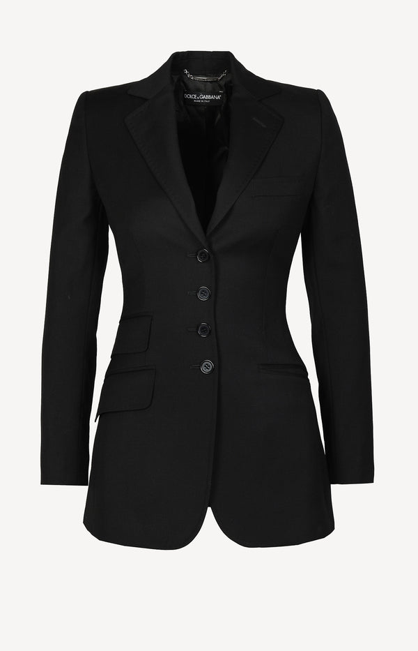 Waisted wool blazer in black