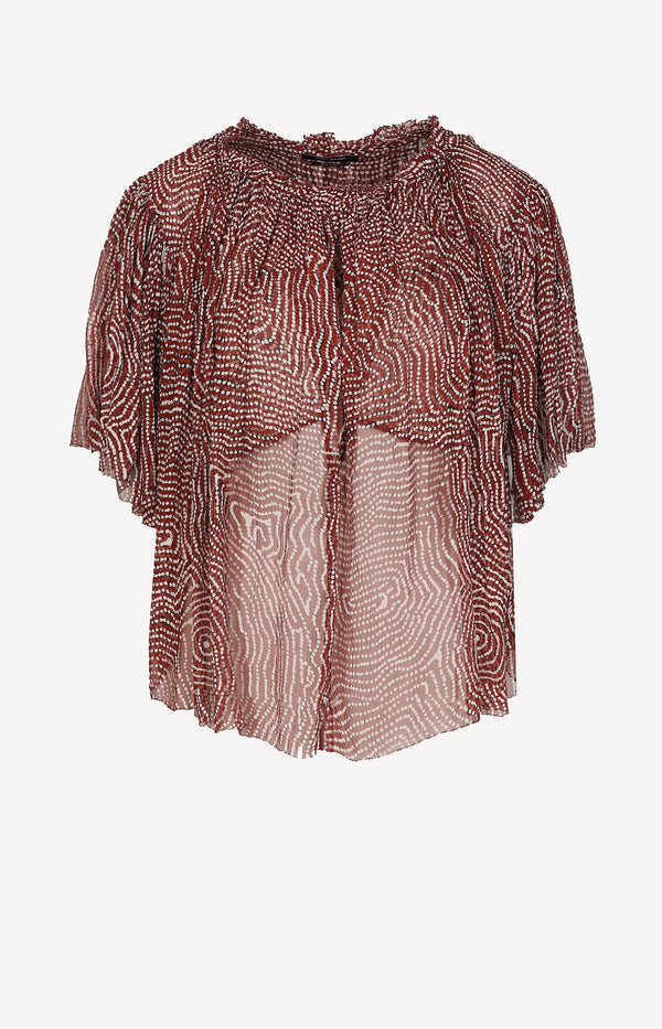 Crepe silk blouse in red / white