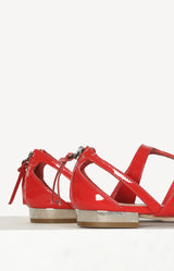 Sandalen aus Lackleder in Rot