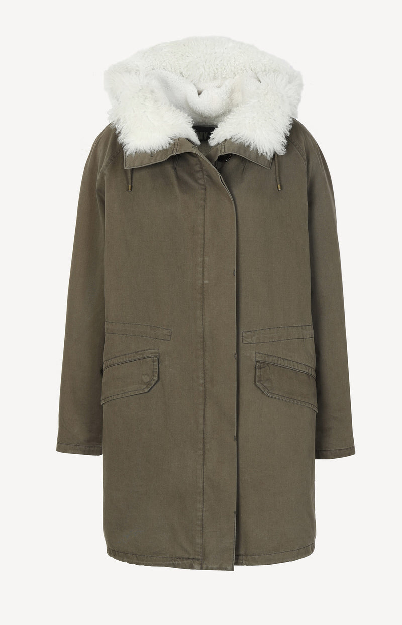 Army parka with lambskin lining in khaki