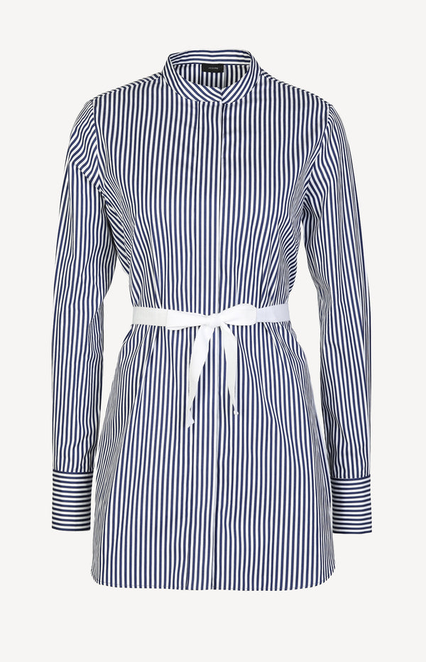Tunic blouse in blue / white with stripes