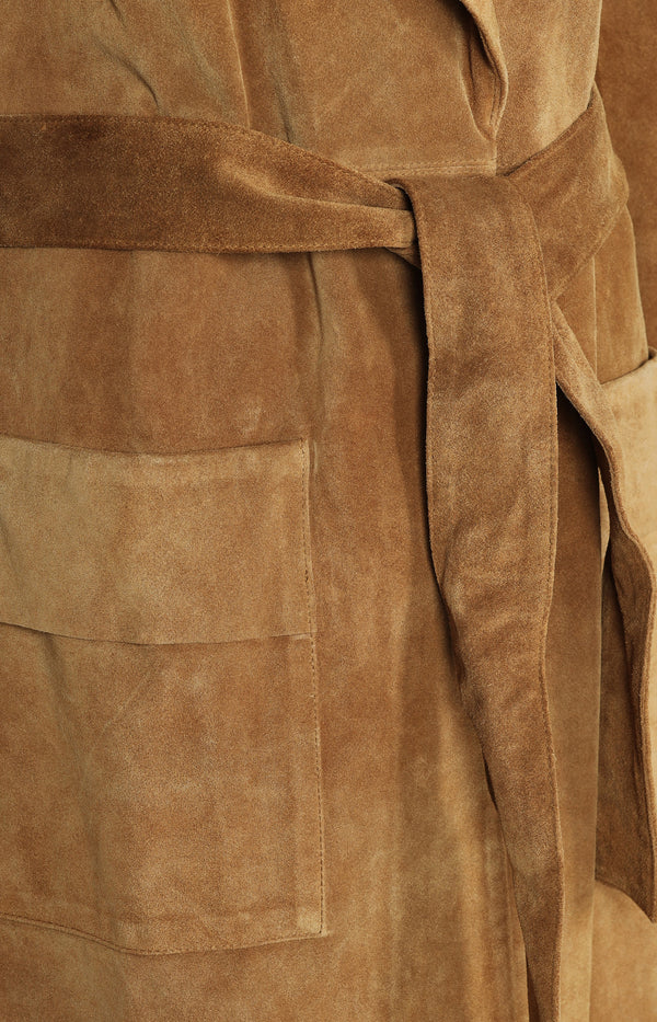 Wildleder-Trenchcoat in Camel