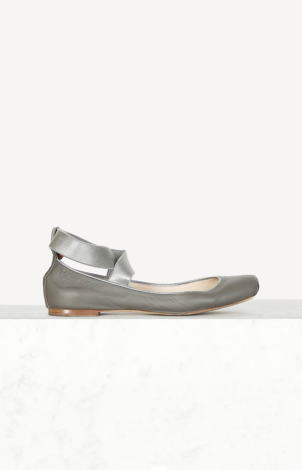 Ballerinas with laces in gray