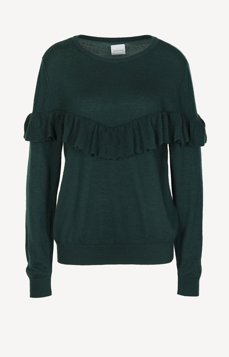 Cashmere sweater with ruffles in green