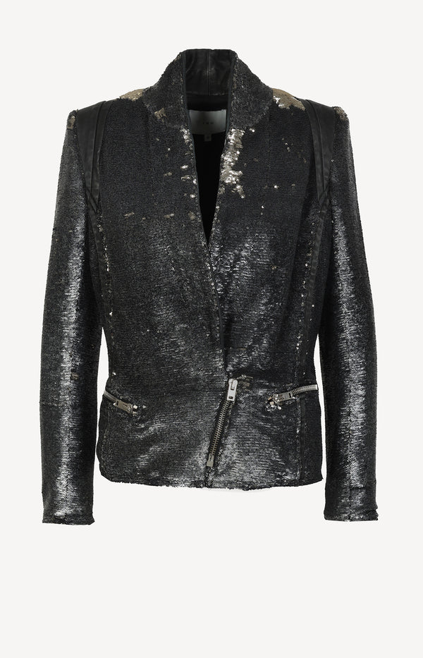 Hadley Sequin blazer in black / metallic