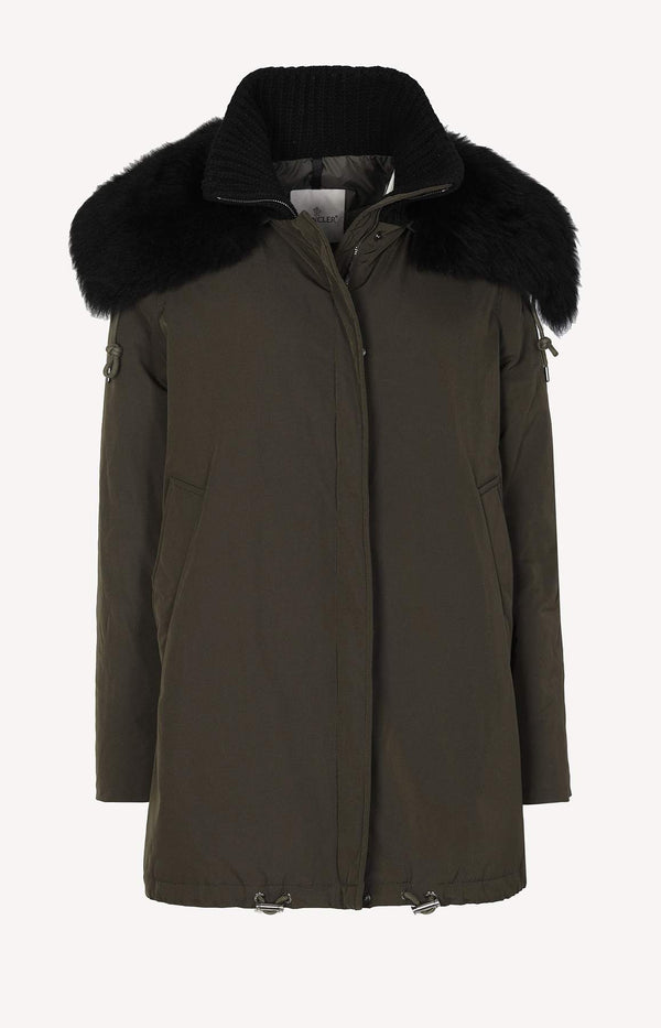 Down coat with fur collar in khaki