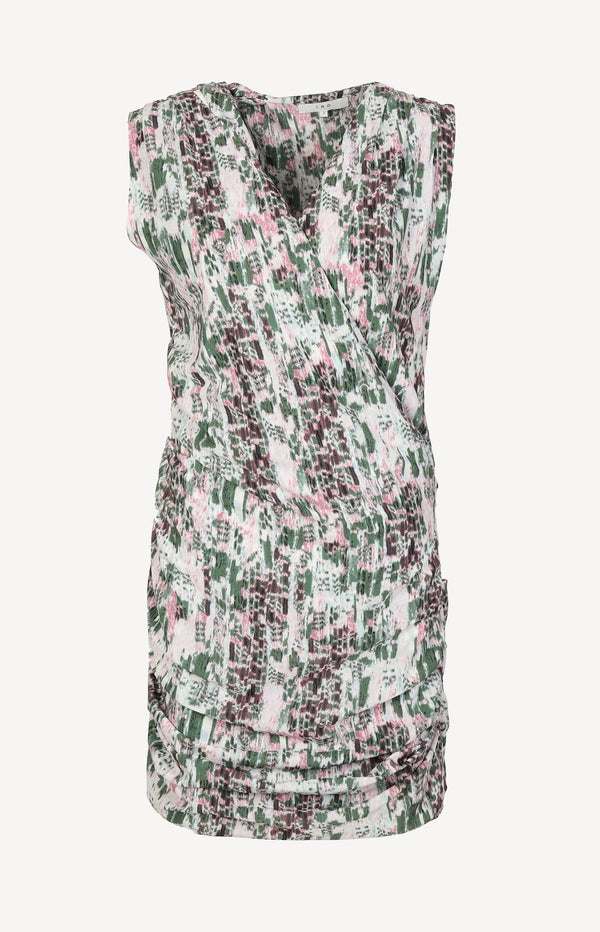 Storm dress in green / pink / cream