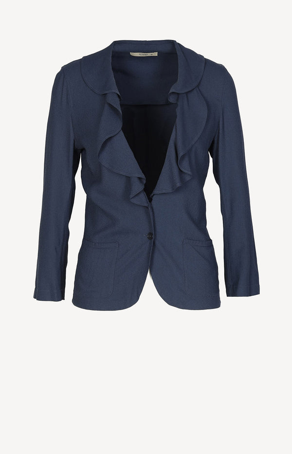 Blazer jacket with ruffles in blue