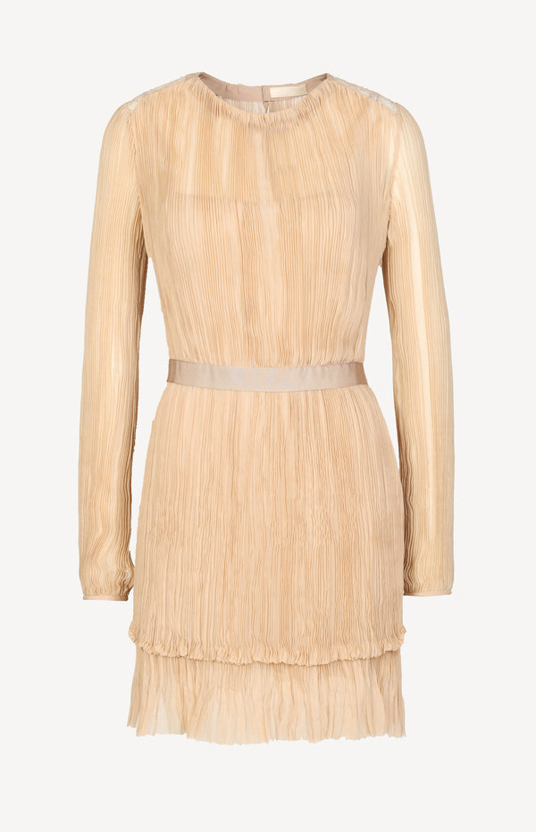 Silk dress with pleats in nude