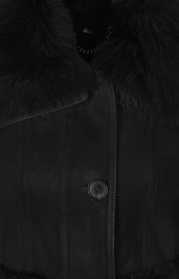 Sheepskin coat in black