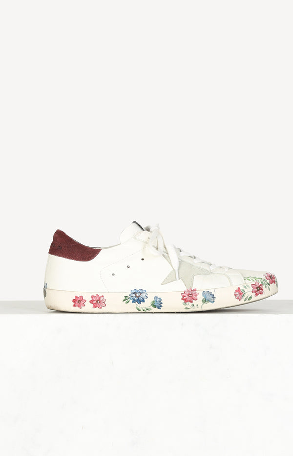White sneakers with flowers