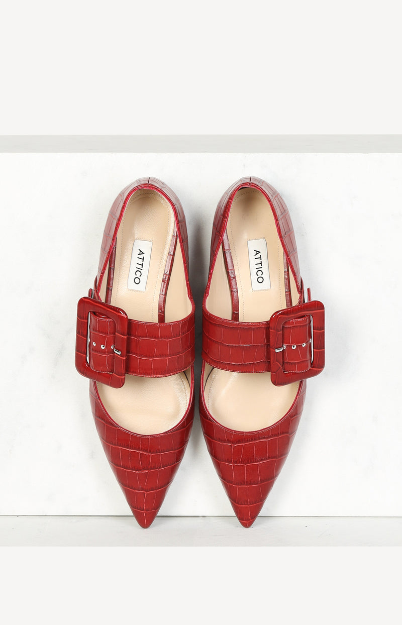 Ballet Flats Anita in Croco Red