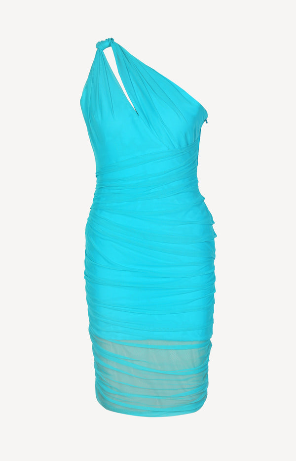 Draped dress in turquoise
