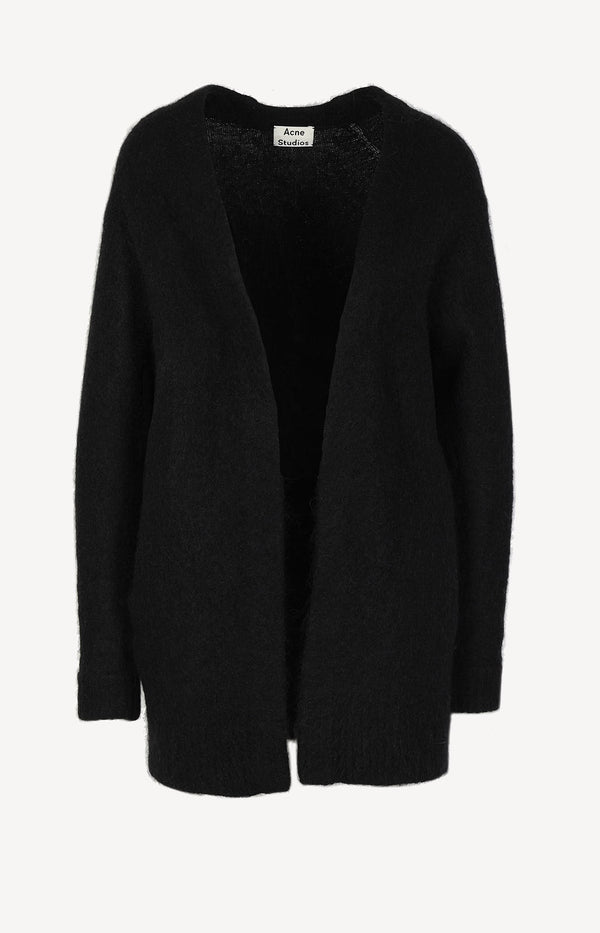 Mohair-Strickjacke in Schwarz