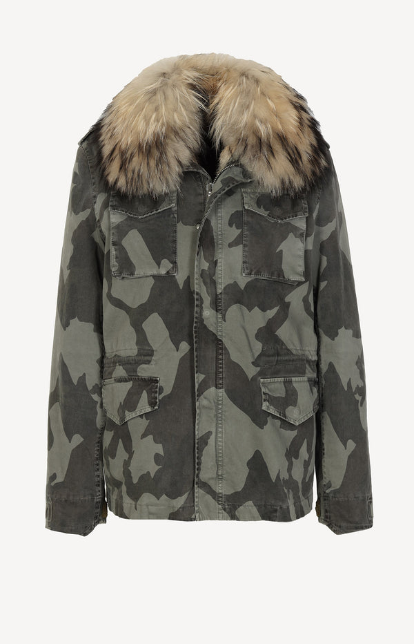 Field jacket with fur lining in olive