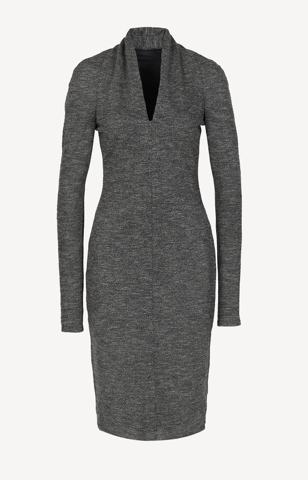 Knit dress with shawl collar in gray