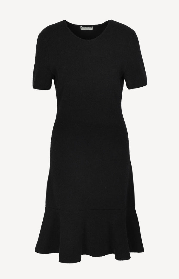 Knit dress with short sleeves in black