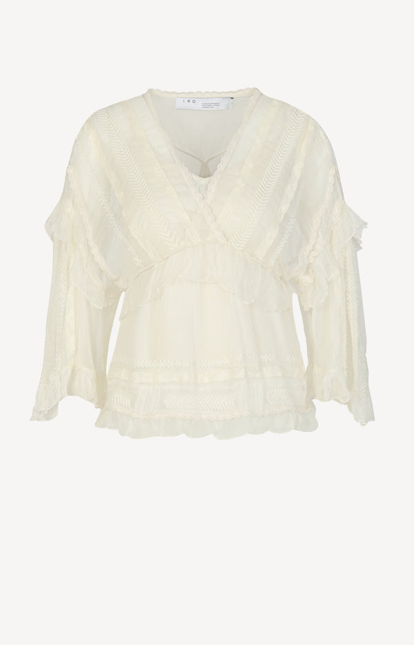 Lace blouse in ivory