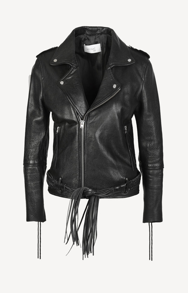 Leather jacket with a braided belt in black