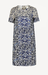 Shift Kleid mit Print in Blau/Creme