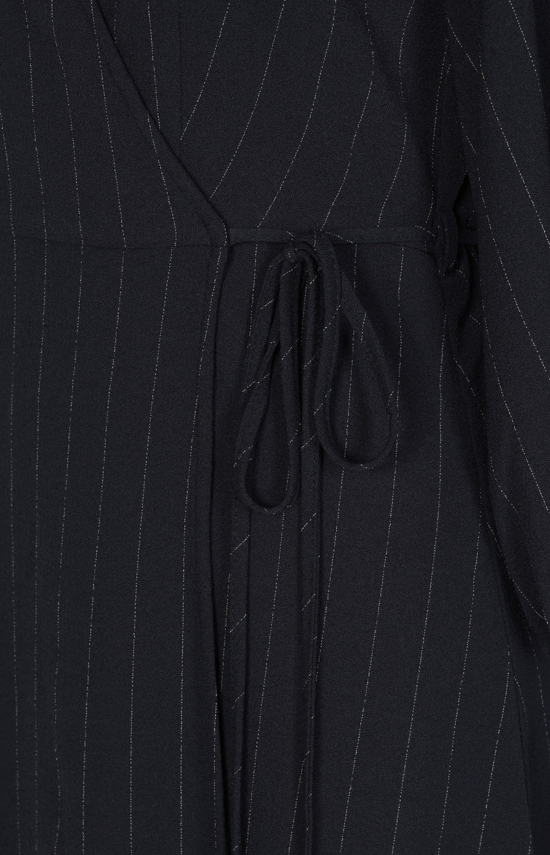 Pinstripe wrap dress