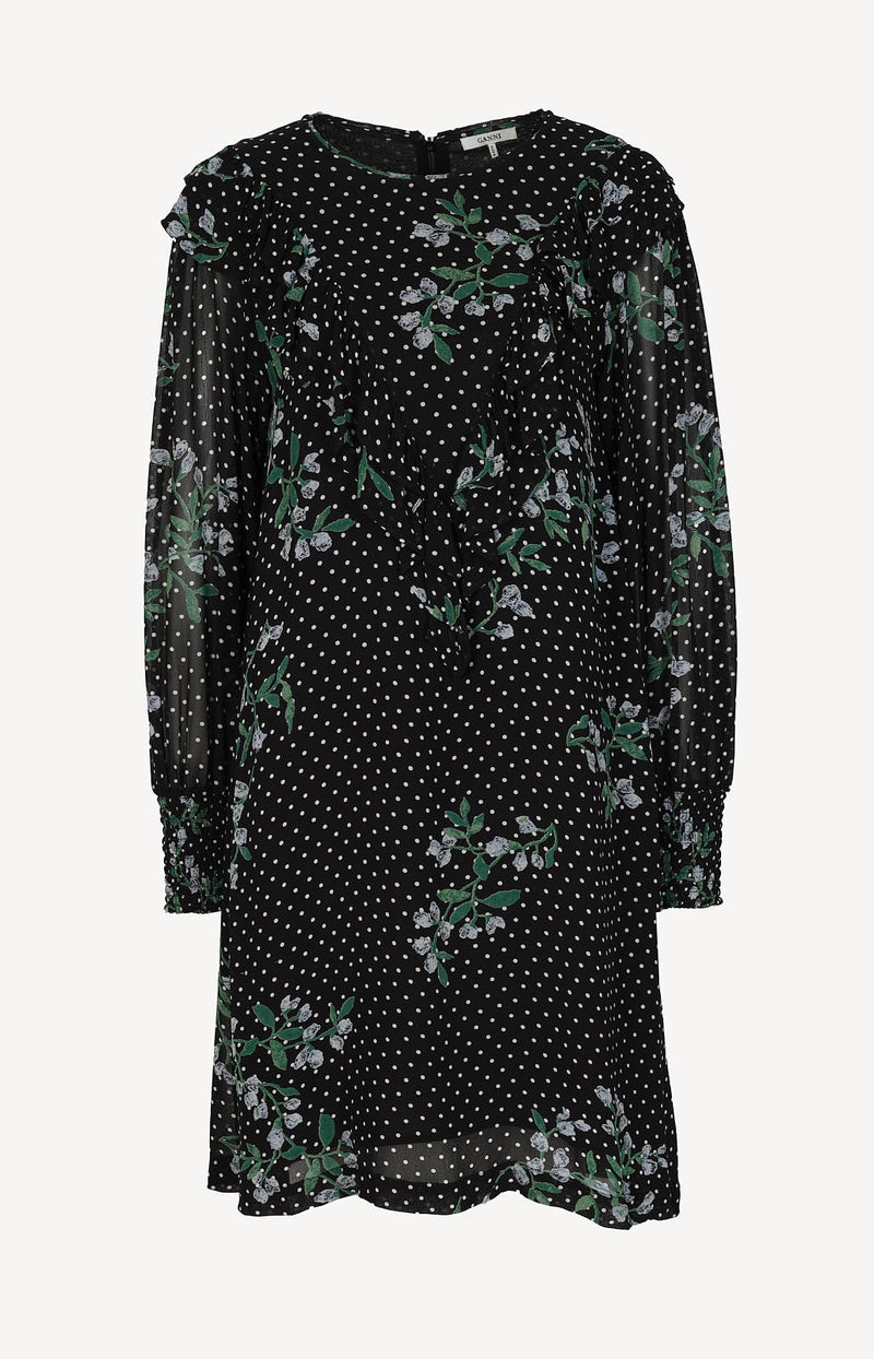 Dress with print in black / white / green