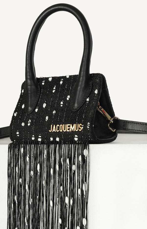 Mini Le Espelho Fringed bag in black