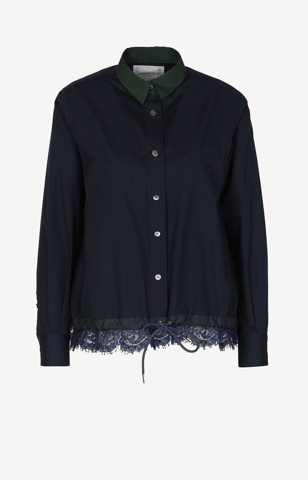 Shirt blouse in blue / green