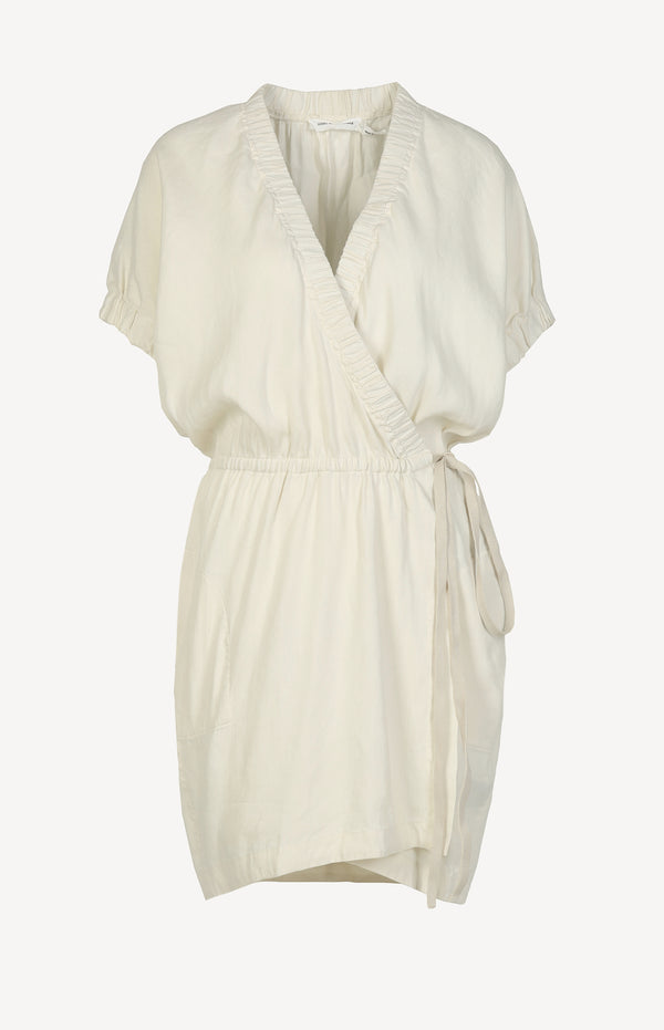Wrap dress made of linen in cream