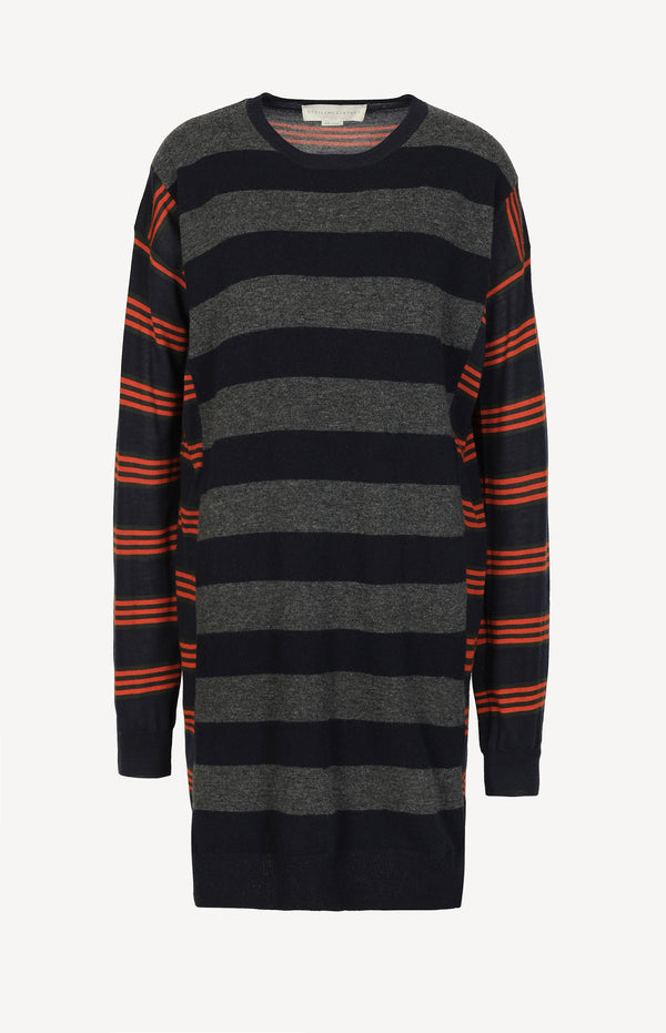 Knit dress in blue / gray / orange
