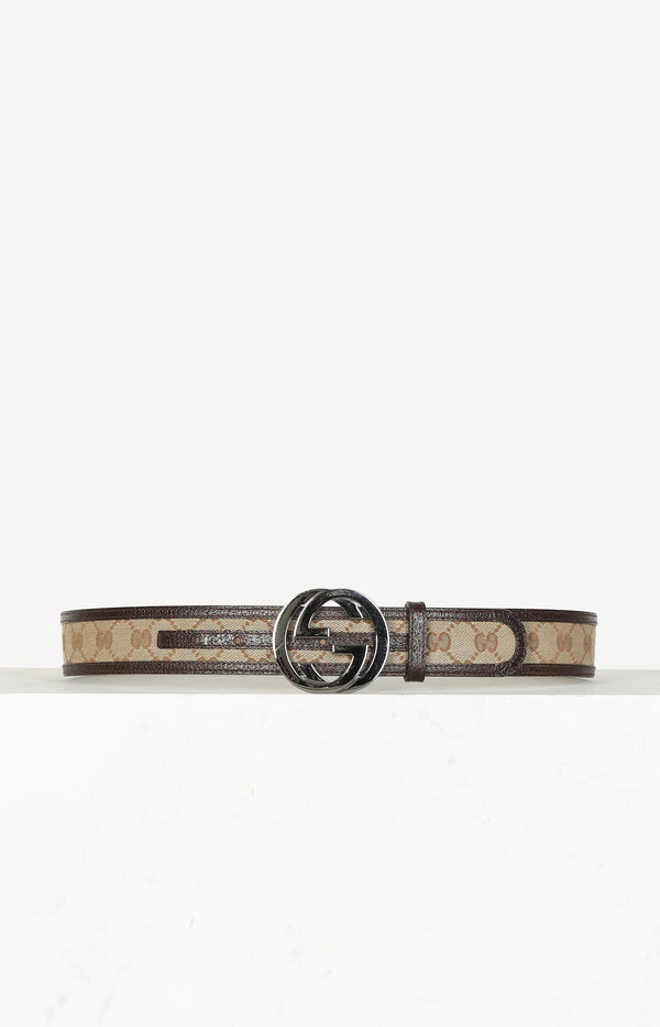 Belt GG Leather Canvas Logo Printed
