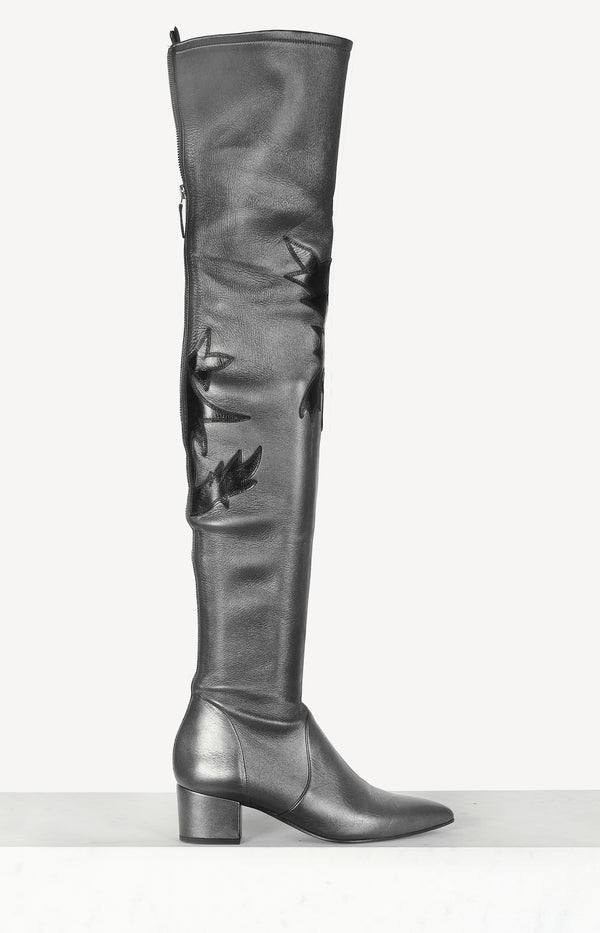 Overknee boots with block heel in black