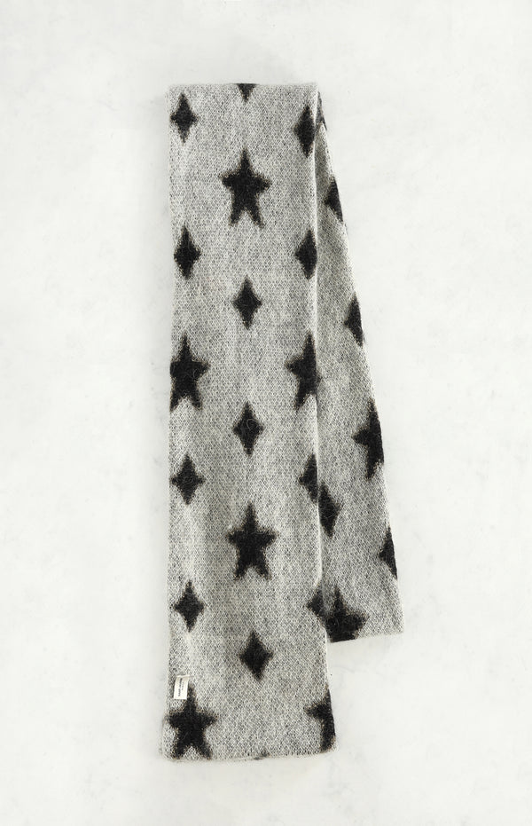 Stars scarf in gray / black / gold
