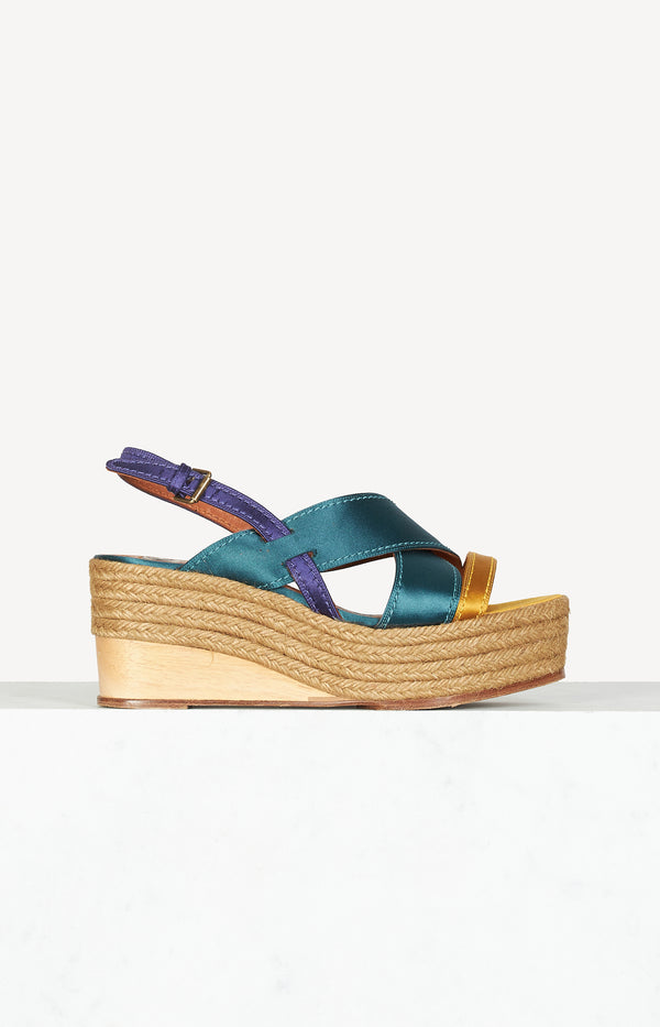 Wedge espadrilles in green / yellow / purple