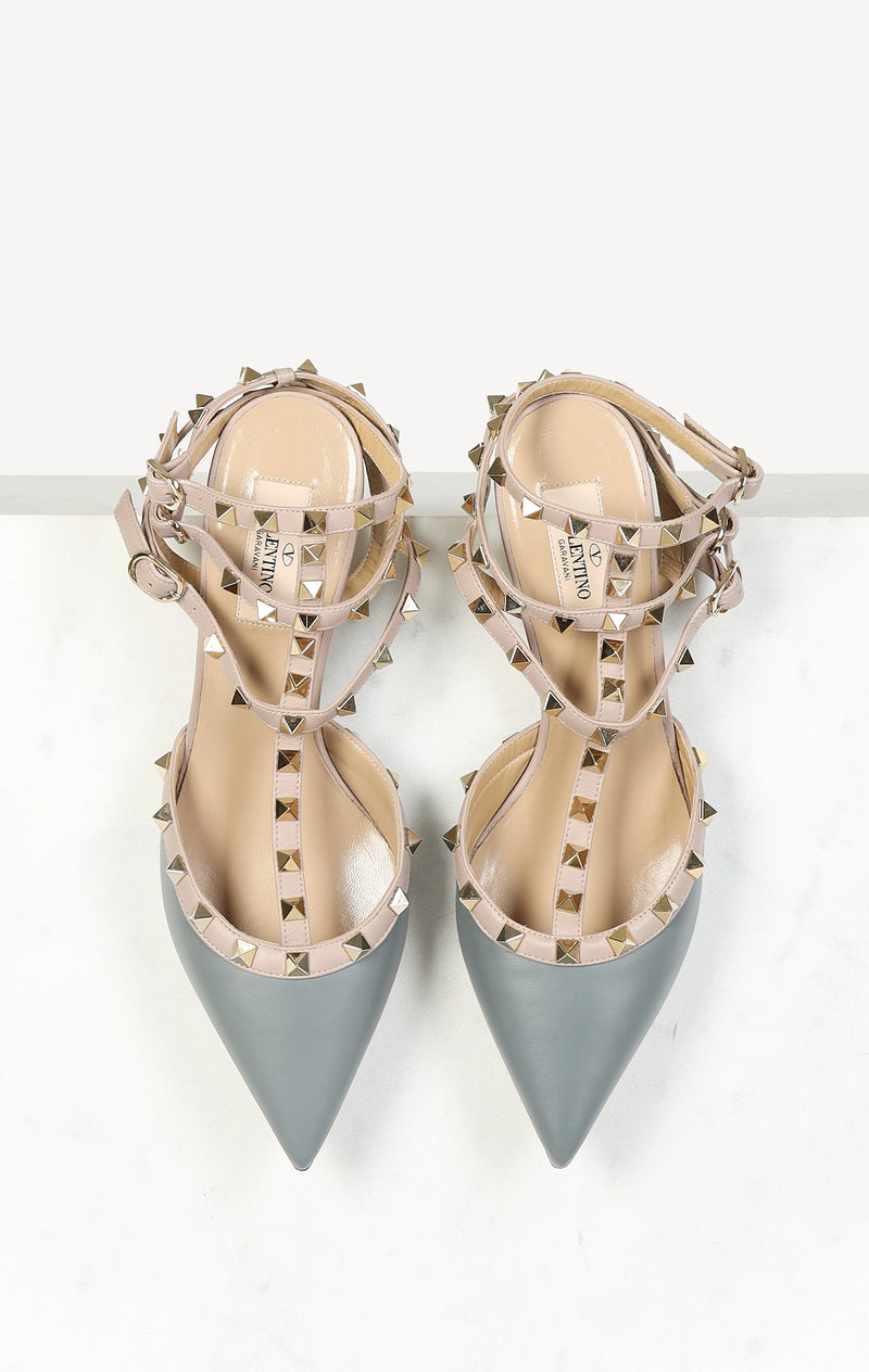 Pumps Rockstud in Stone/Rose