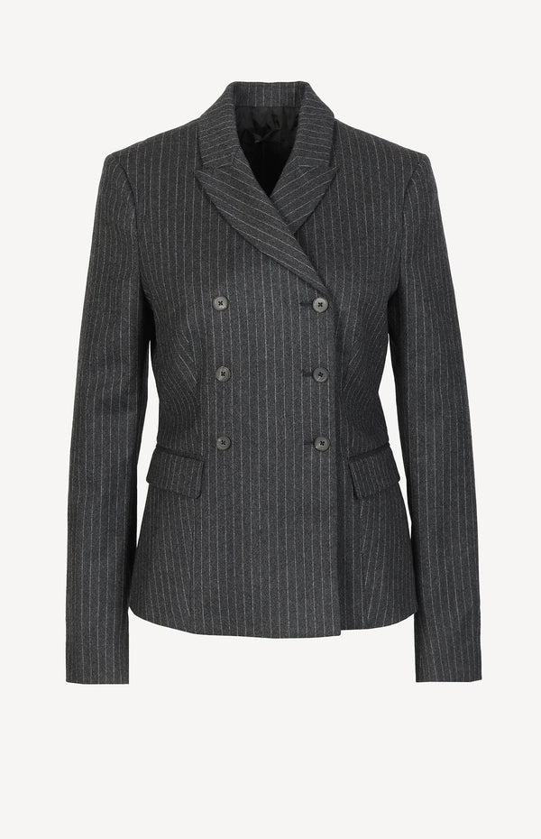 Wool blazer with pinstripes in gray