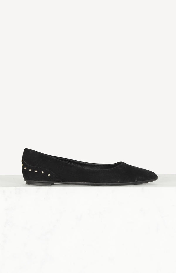 Studded Ballerinas in Schwarz