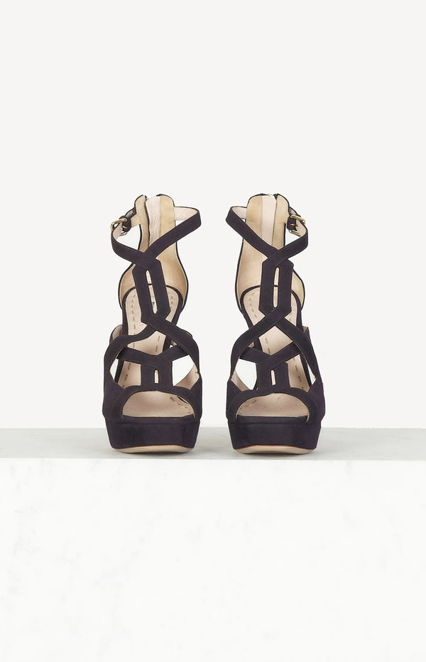 Platform sandals in dark purple